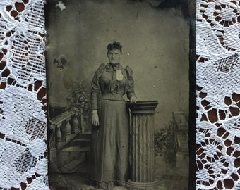Antique Tintype Photo of Standing Woman