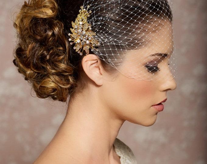 Ivory Birdcage Veil, Wedding Veil, Gold Crystal Comb, Blusher Bridal Veil, Gold Bridal Comb, Bandeau Birdcage Veil, Gold Bird cage Veil
