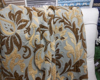 Blue/Brown Floral Upholstery Fabric, Home Decor