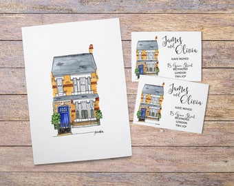 House Portrait & Address Cards: Custom Watercolour House Illustration - Moving Announcement Cards - Change of Address Cards - Home Painting