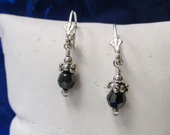 ONE pair of Sterling Silver Dangle Earrings with Blue Slate Colored Stone