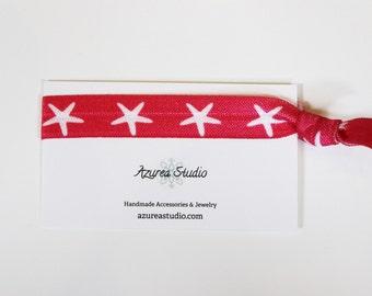 Hot Pink White Starfish Hair Tie