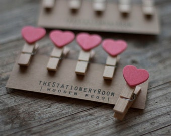 Mini Wooden Pink Heart Shape Pegs for Gift Packaging, Wedding Favours, Handmade Goods - Set of 10