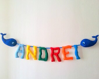 Whale Nursery Banner, Blue Whale Baby Shower, Nautical Nursery Decor, Red and Navy Blue Felt Garland, Birth Announcement Any occasion banner