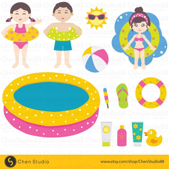 Pool party vector digital clipart instant download eps for Free clipart swimming pool party