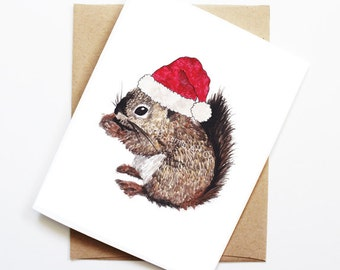 Christmas Card - Squirrel, Cute Christmas Card, Animal Christmas Card, Holiday Card, Xmas Card, Seasonal Card, Christmas Card Set