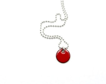 Small Red Pendant Necklace - Enamel Charm on Delicate Sterling Silver Chain - Gift for her