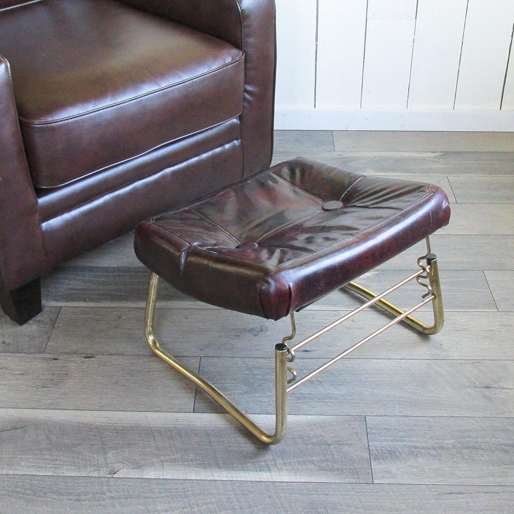 Nice Mid Century Pearl Wick Leg Lounger Adjustable Ottoman, Footrest, Hassock  Brown Naughahyde