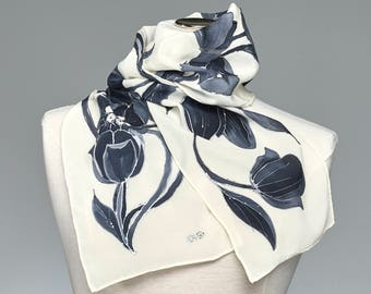 Hand Painted Silk Scarf, Silk Shawl Using French Dyes. Grey-Black Tulips. Monochrome.