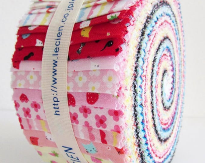 Animals, strawberries,  floral small prints - Lecien Jelly Sushi Roll 2-1/2in x 43in Strips, Minny Muu F15 42-piece quilt cotton fabric pack