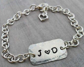 Love Tag Bracelet- Personalized Initials Bracelet - Custom Initials Love- Silver Bracelet- Valentine Gift - Gift for Her - I love you-B-18