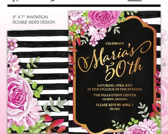 Glam Watercolor Floral Milestone Birthday invitation, Black & White Stripes, Hot Pink, Gold, Watercolor Flowers, Kate Inspired Printable