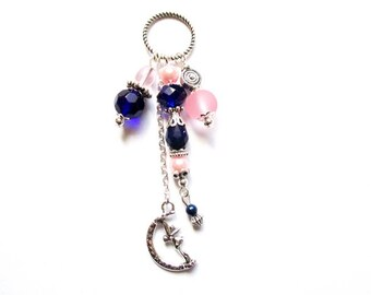 Navy Blue Moon beads pendants Elf charm pendant and rose silver U108