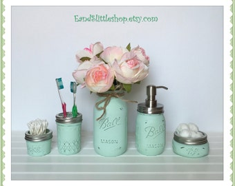 Mason Jar Bathroom Set of 5 Mint-Rustic Decor-Wedding Gift-RustProof Soap Pump & Lid-Shabby Chic-Country Decor-Housewarming gifts-