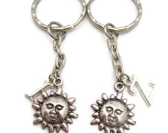 Sun Keychain Set  Initial Sun Face  Keychain Set Best Friends Keychain Set Keychains Mother Daughter Personalized Gift