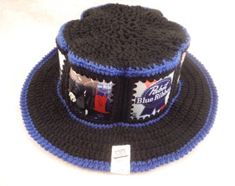 Special Edition PBR! Pabst Blue Ribbon Rock & Roll CanHeads Beer Can Hat - Black yarn with Dark Blue Trim trim - 6 can panels Around the Hat