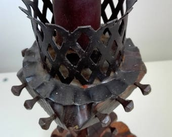 Unique vintage Romanian wood candle holder, decorative candlestick, candleholder, candle stick