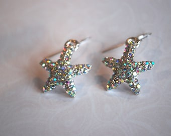 Starfish Earrings -- Crystal Starfish Earrings, Sparkly Starfish Dangles