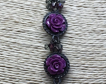 Purple Lucite Flower and Gunmetal Beaded Necklace
