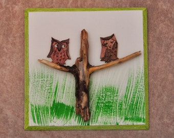 Driftwood art/picture/Two Owls in a Tree