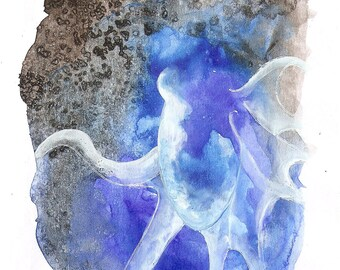 "Octopus Painting - Octopus Overthrown - Fine Art Giclee Print 12/50 of 4""x6"" - Blue Watercolor and Squid Ink"