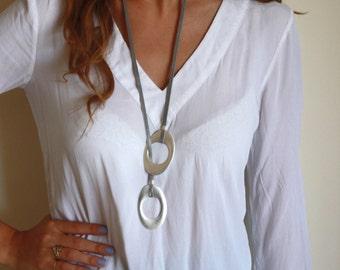 Long Necklace - Gray Necklace - Statement Necklace - Geometric Necklace - Statement Jewelry - Fminine Jewelry - Chic Jewelry
