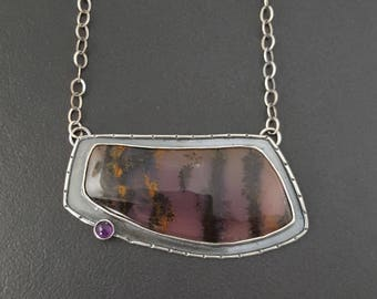 Amethyst Sage Necklace, sterling silver, boho necklace, bohemian necklace, large statement necklace,amethyst sage, purple amethyst, necklace