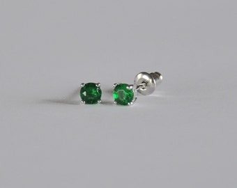 Sparkling Sterling Silver Little Girls Stud...Girls CZ Stud Earring...Girls Stud Earring...May Birthstone...Free Shipping!!
