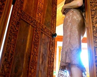 A Beautiful Matte Camel Brown Asymmetrical-hem Skirt with Soft Ruffle - SOLD