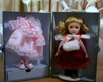 Vintage Porcelain Doll with Wardrobe/ Case.