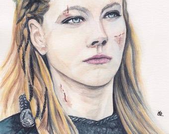 Original watercolor painting-Portrait Lagertha from Vikings