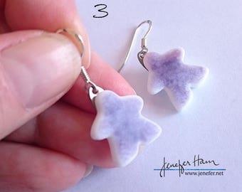 Choose your favorite: 10 Tinted MEEPLE earrings! super cute meeple glass earrings made by Jenefer Ham