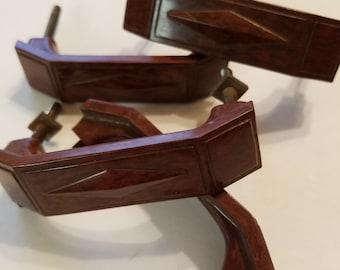 4 Vintage Brown Bakelite Handles