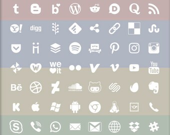 Social Media Icons, 72 logo designs, white on alpha transparency, vector & bitmap images