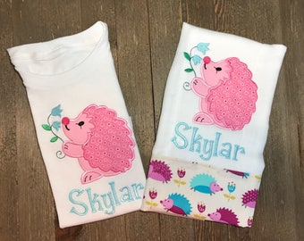 Personalized Hedgehog onesie® and burp cloth // Personalized Porcupine onesie® and burp cloth // Custom // Pink and Blue // Baby Shower