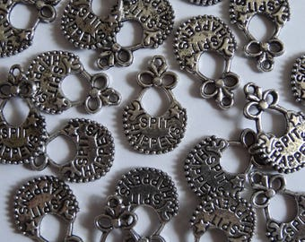 10 Silver 'Spit Happens' Bib Jewellery Craft Charms 24x16mm