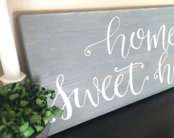 """Home Sweet Home - 18x7"""" Wood Sign - Modern Farmhouse Decor - Home Decor- Rustic - Wall Hanging - Distressed Wood - Quote - Customizable Sign"""