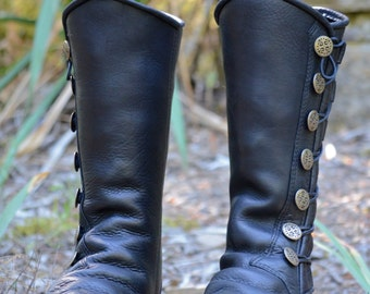 Black Leather Boots - Custom Leather Moccasins - Renaissance Boots - Knee High Boots - Fantasy Boots - Victorian Boots - Custom Fit Boots