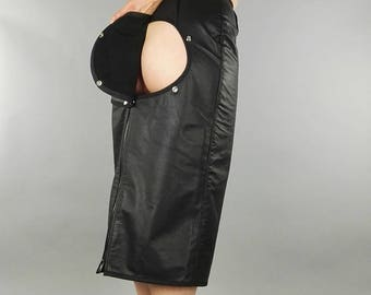 Spanking hobble skirt, black leather, knee length kinky pencil skirt with press stud removable bum panel and front zip, submissive