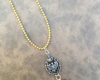 Handmade Eagle & Crescent Moon Necklace, Yoga, Medieval, Goddess, Festival, Fantasy, Chain, Sexy, Celebrity, Gypsy (The Kingdom Necklace)