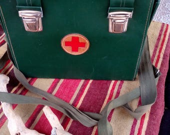 Vintage Green Leather Medical Bag - WWII - Russian Military Medic Bag - Rare Old Leather Bag - Retro Medical Leather Bag - Good Condition