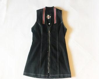 Vintage des années 90 en Jean noir Zip Up robe Mini Racer M