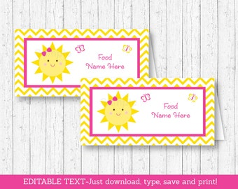 Sunshine Buffet Cards / Sunshine Food Labels / Sunshine Place Cards / You Are My Sunshine Birthday / INSTANT DOWNLOAD Editable PDF A220