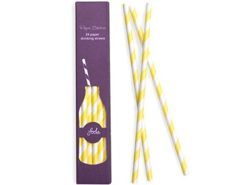 24 Straws | Yellow Paper Straws | Yellow Stripe Party Straws | Paper Straws | Yellow and White Stripe Party Straws | 24 per pack