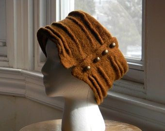 Felted women's wool hand-knit hat--butterscotch pillbox pleated wrap fastened with buttons--Pleated Butterscotch