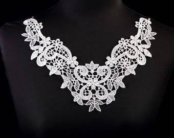 1 x large collar applique lace guipureBlanc 26 cm X 21 cm