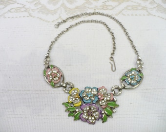 GORGEOUS Authentic 1920s Vintage Art Deco Rhinestone and Enamel Necklace - silver tone pot metal - GATSBY spring summer - colorful flowers