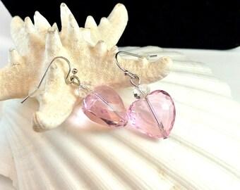 Vintage Pink Heart Earrings, Pink Heart Dangle Earrings, 1980 Heart Earrings, Valentines Day Gift, Pink Earrings