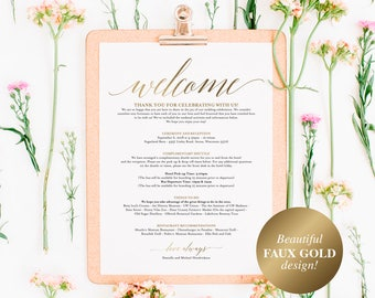 Faux Gold Wedding Itinerary Template, Wedding Welcome Letter, Wedding Itinerary, Welcome Bags, wedding sign, PDF Instant Download #BPB324_53