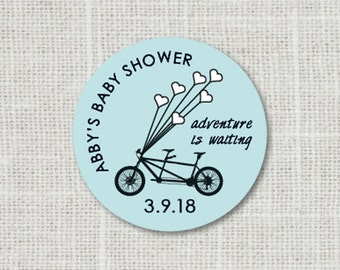 Baby Shower Stickers, Tandem Bicycle Baby Party Stickers, Bike Baby Shower Favor Stickers, Baby Party Labels